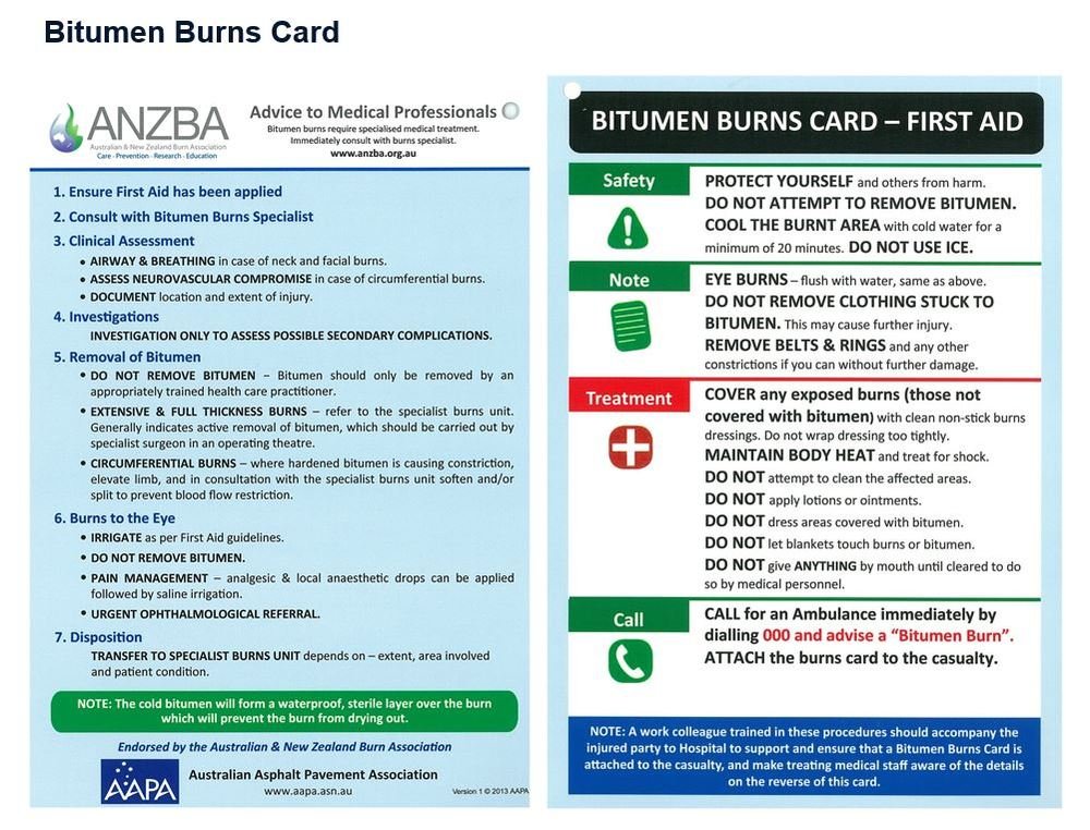 graphic regarding First Aid Cards Printable named Bitumen Burns Playing cards - AAPA