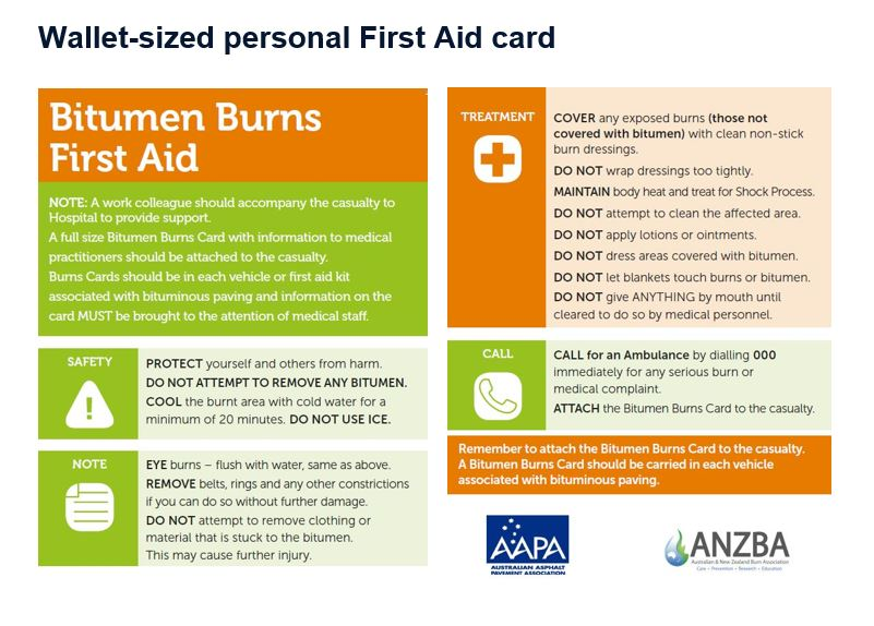 photograph relating to First Aid Cards Printable named Bitumen Burns Playing cards - AAPA